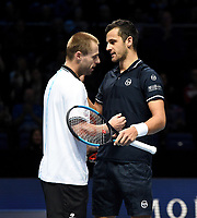 Mate Pavic and Oliver Marach celebrate winning against Pierre-Hugues Herbert and Nicolas Mahut<br /> <br /> Photographer Hannah Fountain/CameraSport<br /> <br /> International Tennis - Nitto ATP World Tour Finals Day 2 - O2 Arena - London - Monday 12th November 2018<br /> <br /> World Copyright &copy; 2018 CameraSport. All rights reserved. 43 Linden Ave. Countesthorpe. Leicester. England. LE8 5PG - Tel: +44 (0) 116 277 4147 - admin@camerasport.com - www.camerasport.com