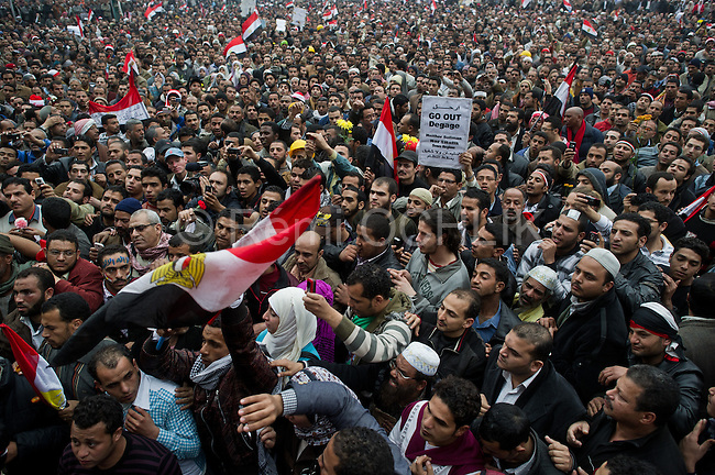 "© Remi OCHLIK/IP3 -  February 5 2011  CAIRO - The top leadership body of Egypt's ruling party resigned Saturday, including the president's son, but the regime appeared to be digging in its heels, calculating that it can ride out street demonstrations and keep President Hosni Mubarak in office. Protesters have refused to end their mass rallies in downtown Tahrir Square until Mubarak quits. Tens of thousands gathered Saturday in Tahrir, waving flags and chanting a day after some 100,000 massed there in an intensified demonstration labeled ""the day of departure,"" in hopes it would be the day Mubarak leaves...Their unprecedented 12-day movement has entered a delicate new phase. Organizers fear that without the pressure of protesters on the street, Mubarak's regime will enact only cosmetic reforms and try to preserve its grip on power. So they are reluctant to lift their demonstrations without the concrete gain of Mubarak's ouster and a transition mechanism that guarantees a real move to democracy afterward"