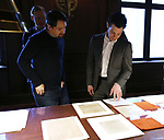 Lin-Manuel Miranda and Thomas Kail from the 'Hamilton' creative team during a CBS Morning News interview taping with John Dickerson at The Library of Congress on December 2, 2018 in Washington, D.C.