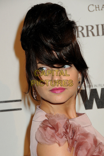 MENA SUVARI .3rd Annual Women In Film Pre-Oscar Party held at a Private Residence in Beverly Hills, California, USA, .4th March 2010..portrait headshot  pink hair fringe up lipstick make-up beauty silk chiffon ruffle silver earrings .CAP/ADM/BP.©Byron Purvis/AdMedia/Capital Pictures.