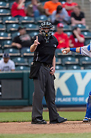 Umpire Andy Stukel during a Texas League game between the Springfield Cardinals and the Amarillo Sod Poodles on April 25, 2019 at Hammons Field in Springfield, Missouri. Springfield defeated Amarillo 8-0. (Zachary Lucy/Four Seam Images)