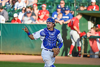 Ryan Scott (15) of the Ogden Raptors during the game against the Orem Owlz in Pioneer League action at Lindquist Field on June 18, 2015 in Ogden, Utah. This was Opening Night play of the 2015 Pioneer League season.  (Stephen Smith/Four Seam Images)