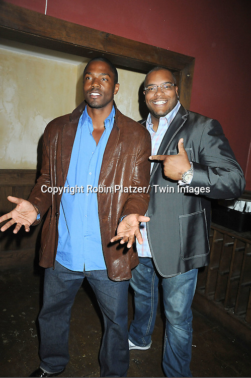 Tobias Truvillion and Sean Ringgold attend The One Life To Live Benefit for The Amber Roach Memorial Garden on January 7, 2012 at Brother .Jimmy's BBQ Union Square Restaurant in New York City.