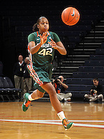 Jan. 6, 2011; Charlottesville, VA, USA; Miami Hurricanes guard Shenise Johnson (42) handles the ball during the game against the Miami Hurricanes at the John Paul Jones Arena.  Mandatory Credit: Andrew Shurtleff-