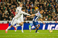Real Madrid´s Daniel Carvajal and Deportivo de la Coruna's Helder Costa during 2014-15 La Liga match between Real Madrid and Deportivo de la Coruna at Santiago Bernabeu stadium in Madrid, Spain. February 14, 2015. (ALTERPHOTOS/Luis Fernandez) /NORTEphoto.com
