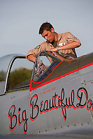 Historic, World War II, aircraft North American P-51 Mustang being cleaned before a display at Rygge Airshow. Norway