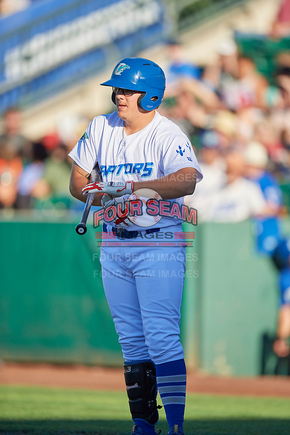 Nick Yarnall (33) of the Ogden Raptors bats against the Orem Owlz in Pioneer League action at Lindquist Field on June 27, 2017 in Ogden, Utah. Ogden defeated Orem 14-5. (Stephen Smith/Four Seam Images)