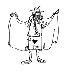 (A flasher with an  'I love you' sign hiding his genitals)