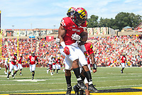 College Park, MD - September 22, 2018:  Maryland Terrapins wide receiver DJ Turner (1) celebrates after scoring a touchdown during the game between Minnesota and Maryland at  Capital One Field at Maryland Stadium in College Park, MD.  (Photo by Elliott Brown/Media Images International)