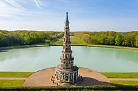 France, Indre-et-Loire (37), Amboise, la pagode de Chanteloup (vue aérienne)