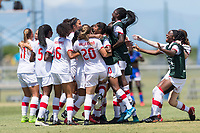 Bradenton, FL - Sunday, June 12, 2018: Canada, Celebration prior to a U-17 Women's Championship 3rd place match between Canada and Haiti at IMG Academy. Canada defeated Haiti 2-1.