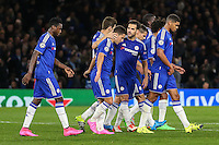 Oscar of Chelsea (2nd right) celebrates scoring his team's second goal against Maccabi Tel-Aviv to make it 2-0 during the UEFA Champions League match between Chelsea and Maccabi Tel Aviv at Stamford Bridge, London, England on 16 September 2015. Photo by David Horn.