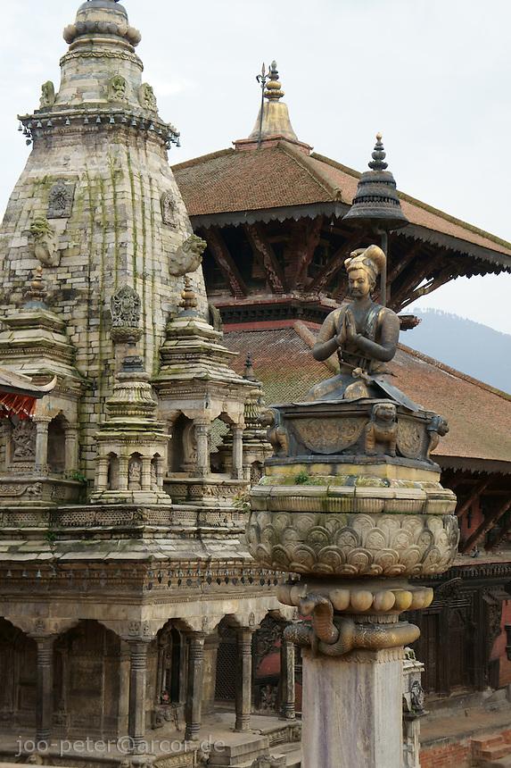 Durbrn Square, Bhaktapur, Nepal viewing Bhupatintra Malla pillar, Pashupati Mandir in the back and Batsala Durga on the left side