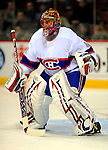 15 November 2008:  Montreal Canadiens' goaltender Jaroslav Halak from Slovakia warms up prior to facing the Philadelphia Flyers in their first meeting in Montreal since the Flyers knocked the Canadiens out of the playoffs last season. The Canadiens, celebrating their 100th season, fell to the visiting Flyers 2-1 at the Bell Centre in Montreal, Quebec, Canada. ***Editorial Sales Only***..Mandatory Photo Credit: Ed Wolfstein Photo *** Editorial Sales through Icon Sports Media *** www.iconsportsmedia.com