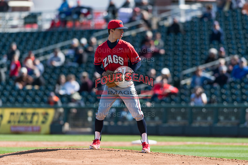 Gonzaga Bulldogs starting pitcher Alek Jacob (37) prepares to deliver a pitch during a game against the Oregon State Beavers on February 16, 2019 at Surprise Stadium in Surprise, Oregon State defeated Gonzaga 9-3. (Zachary Lucy/Four Seam Images)