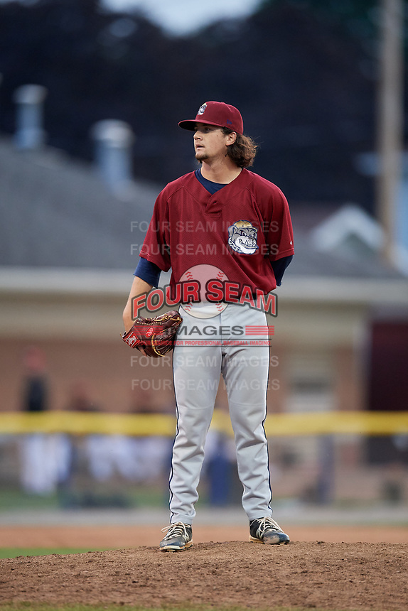 Mahoning Valley Scrappers relief pitcher Kyle Nelson (44) looks in for the sign during the first game of a doubleheader against the Batavia Muckdogs on August 28, 2017 at Dwyer Stadium in Batavia, New York.  Mahoning Valley defeated Batavia 6-3.  (Mike Janes/Four Seam Images)
