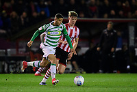 Yeovil Town's Alefe Santos under pressure from Lincoln City's Mark O'Hara<br /> <br /> Photographer Chris Vaughan/CameraSport<br /> <br /> The EFL Sky Bet League Two - Lincoln City v Yeovil Town - Friday 8th March 2019 - Sincil Bank - Lincoln<br /> <br /> World Copyright © 2019 CameraSport. All rights reserved. 43 Linden Ave. Countesthorpe. Leicester. England. LE8 5PG - Tel: +44 (0) 116 277 4147 - admin@camerasport.com - www.camerasport.com