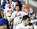 Daisuke Matsuzaka (Mets),<br /> APRIL 26, 2014 - MLB :<br /> Daisuke Matsuzaka of the New York Mets gets a fist bump from his teammate in the dugout after the top of the ninth inning during the Major League Baseball game against the Miami Marlins at Citi Field in Flushing, New York, United States. (Photo by AFLO)