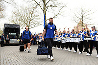 Dave Attwood and the rest of the Bath Rugby team arrive at Twickenham. Gallagher Premiership match, The Clash, between Bath Rugby and Bristol Rugby on April 6, 2019 at Twickenham Stadium in London, England. Photo by: Patrick Khachfe / Onside Images