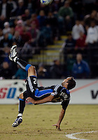 Ramiro Corrales tries for a bicycle kick. FC Dallas defeated the San Jose Earthquakes 2-1 at Buck Shaw Stadium in Santa Clara, California on October 7, 2009.