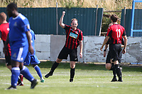 Charlie Portway of Saffron Walden scores the first goal for his team and celebrates during Redbridge vs Saffron Walden Town, Essex Senior League Football at Oakside Stadium on 4th August 2018