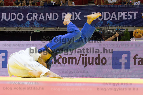 Offical mascot (R) watches as Ryuju Nagayama (in white) of Japan and Albert Oguzov (in blue) of Russia fight during the Men -60 kg category at the Judo Grand Prix Budapest 2018 international judo tournament held in Budapest, Hungary on Aug. 10, 2018. ATTILA VOLGYI