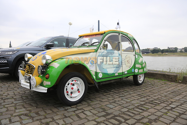 Citroen 2CV at sign on in Dusseldorf before the start of Stage 2 of the 104th edition of the Tour de France 2017, running 203.5km from Dusseldorf, Germany to Liege, Belgium. 2nd July 2017.<br /> Picture: Eoin Clarke | Cyclefile<br /> <br /> <br /> All photos usage must carry mandatory copyright credit (&copy; Cyclefile | Eoin Clarke)