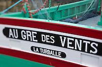 Europe/France/Pays de la Loire/44/Loire Atlantique/Presqu'île Guérandaise/La Turballe:  Le Sardinier: Au Gré des Vents , détail - Musée de la pêche, La Turballe, port de pêche a fondé son activité sur la pêche à la sardine,  //   France, Loire Atlantique, Guerande Peninsula, La Turballe The Sardinier, Au Gre des Vents Fisheries Museum, La Turballe, fishing port has based its activity on sardine fishing