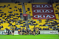 A scrum sets during the Super Rugby match between the Hurricanes and Chiefs at Westpac Stadium in Wellington, New Zealand on Friday, 13 April 2018. Photo: Dave Lintott / lintottphoto.co.nz