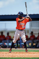 GCL Astros shortstop Joan Mauricio (47) at bat during a game against the GCL Nationals on August 14, 2016 at the Carl Barger Baseball Complex in Viera, Florida.  GCL Nationals defeated GCL Astros 8-6.  (Mike Janes/Four Seam Images)
