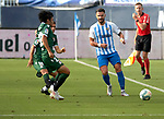Armando Sadiku (Malaga CF) and Gaku Shibasaki (RC Deportivo de la Coruna) competes for the ball during La Liga Smartbank match round 39 between Malaga CF and RC Deportivo de la Coruna at La Rosaleda Stadium in Malaga, Spain, as the season resumed following a three-month absence due to the novel coronavirus COVID-19 pandemic. Jul 03, 2020. (ALTERPHOTOS/Manu R.B.)