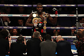 2nd February 2019 The O2 Arena, London, England; Boxing, European Super-Welterweight Championship, Sergio Garcia versus Ted Cheeseman; Undercard fight as Lawrence Okolie celebrates in front of photographers as he retains the WBA Continental Cruiserweight Championship