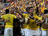 BRASILIA - BRASIL -19-06-2014. James Rodríguez jugador de Colombia (COL) celebra un gol anotado a Costa de Marfil (CIV) durante partido del Grupo C de la Copa Mundial de la FIFA Brasil 2014 jugado en el estadio Mané Garricha de Brasilia./ James Rodriguez player of Colombia (COL) celebrates a goal scored to Ivory Coast (CIV) during the macth of the Group C of the 2014 FIFA World Cup Brazil played at Mane Garricha stadium in Brasilia. Photo: VizzorImage / Alfredo Gutiérrez / Contribuidor