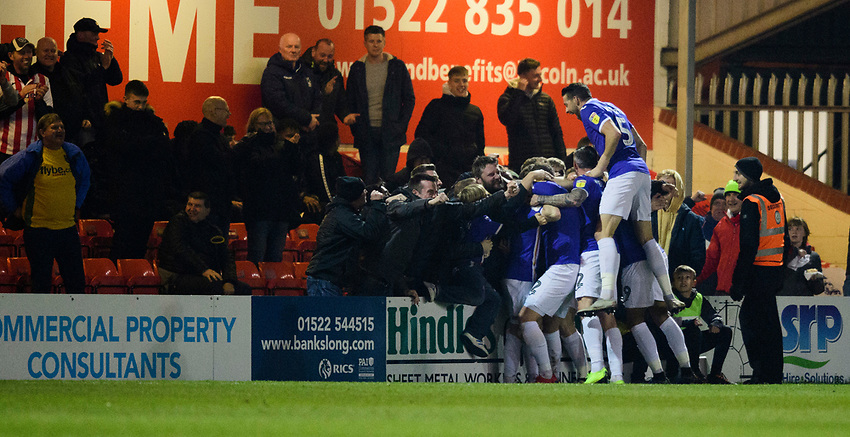 Exeter City's Matt Jay celebrates scoring the opening goal<br /> <br /> Photographer Chris Vaughan/CameraSport<br /> <br /> The EFL Sky Bet League Two - Lincoln City v Exeter City - Tuesday 26th February 2019 - Sincil Bank - Lincoln<br /> <br /> World Copyright © 2019 CameraSport. All rights reserved. 43 Linden Ave. Countesthorpe. Leicester. England. LE8 5PG - Tel: +44 (0) 116 277 4147 - admin@camerasport.com - www.camerasport.com