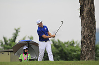 Alex Noren (Europe) on the 16th fairway during the Singles Matches of the Eurasia Cup at Glenmarie Golf and Country Club on the Sunday 14th January 2018.<br /> Picture:  Thos Caffrey / www.golffile.ie
