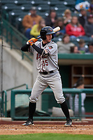 Quad Cities River Bandits right fielder Austin Dennis (35) during a Midwest League game against the Fort Wayne TinCaps at Parkview Field on May 3, 2019 in Fort Wayne, Indiana. Quad Cities defeated Fort Wayne 4-3. (Zachary Lucy/Four Seam Images)