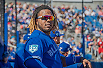 6 March 2019: Toronto Blue Jays top prospect infielder Vladimir Guerrero Jr. watches play from the dugout during a Spring Training game against the Philadelphia Phillies at Dunedin Stadium in Dunedin, Florida. The Blue Jays defeated the Phillies 9-7 in Grapefruit League play. Mandatory Credit: Ed Wolfstein Photo *** RAW (NEF) Image File Available ***