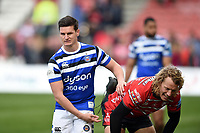 Freddie Burns of Bath Rugby and Billy Twelvetrees of Gloucester Rugby after the match. Gallagher Premiership match, between Gloucester Rugby and Bath Rugby on April 13, 2019 at Kingsholm Stadium in Gloucester, England. Photo by: Patrick Khachfe / Onside Images