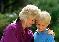 Portrait of a smiling mother and son.