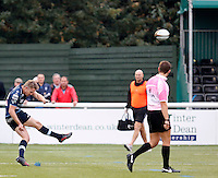 Bedford's Myles Dorian kicks the conversion during the Greene King IPA Championship match between Ealing Trailfinders and Bedford Blues at Castle Bar , West Ealing , England  on 29 October 2016. Photo by Carlton Myrie / PRiME Media
