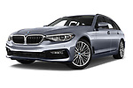 Stock pictures of low aggressive front three quarter view of 2018 BMW 5 Series Touring Sport 5 Door Wagon