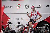 Tomasz Marczynski (POL/Lotto-Soudal) 'warming up' for the TT<br /> <br /> Stage 4 (ITT): Roanne to Roanne (26.1km)<br /> 71st Critérium du Dauphiné 2019 (2.UWT)<br /> <br /> ©kramon