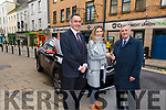 Tara Flynn from Tralee receives the keys to her new car from Pa Laide and Patrick McElligott at the Cara Credit Union on Thursday.