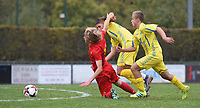 20190927 - WOLVERTEM , BELGIUM : Lian De Smet (L) and Ukraine's Anton Tsarenko (R) pictured during the friendly  soccer match between  under 16 teams of  Belgium and Ukraine , in Wolvertem , Belgium . Thursday 26 th September 2019 . PHOTO SPORTPIX.BE / DIRK VUYLSTEKE