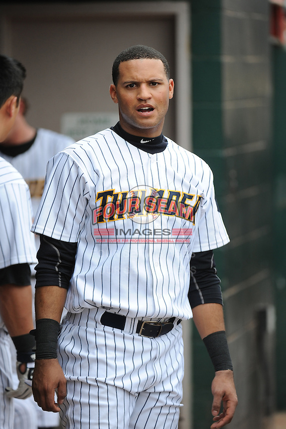 Trenton Thunder outfielder Mason Williams (9) during the game against the Harrisburg Senators at ARM & HAMMER Park on May 21, 2014 in Trenton, New Jersey.  Harrisburg defeated Trenton 9-0.  (Tomasso DeRosa/Four Seam Images)