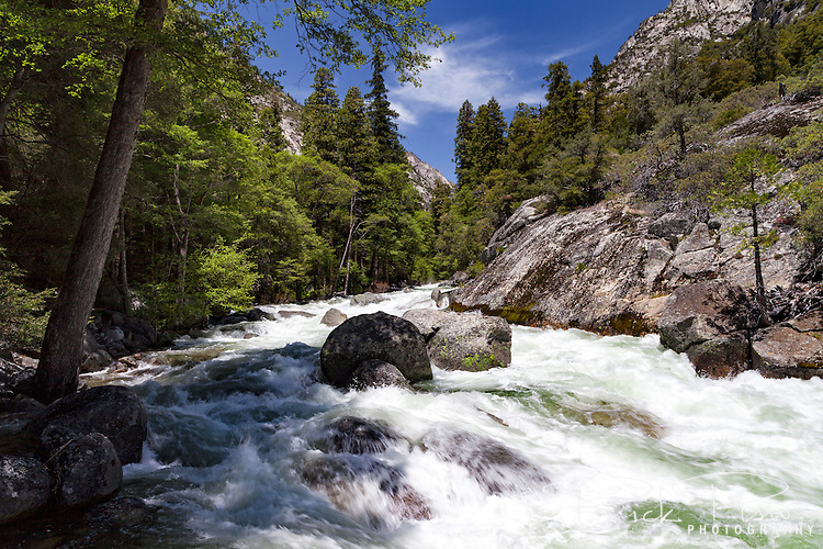 Spring runoff flows through the South Fork of the Kings River above Mist Falls in Kings Canyon National Park