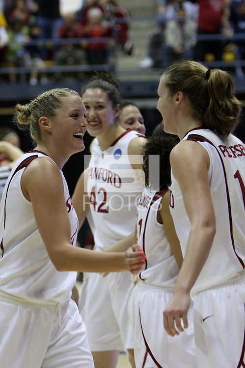 BERKELEY, CA - MARCH 30: Jayne Appel, Kayla Pedersen, Ros Gold-Onwude, Sarah Boothe and Jillian Harmon are all smiles during Stanford's 74-53 win against the Iowa State Cyclones on March 30, 2009 at Haas Pavilion in Berkeley, California.