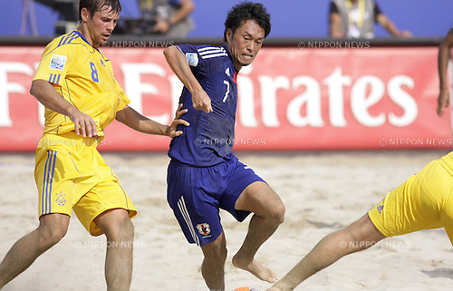(R-L) Takeshi Kawaharazuka (JPN), Roman Pachev (UKR),..SEPTEMBER 4, 2011 - Beach Soccer :..FIFA Beach Soccer World Cup Ravenna/Italy 2011, Group D match between Ukraine 4-2 Japan at Stadio del Mare in Marina di Ravenna, Ravenna, Italy. (Photo by Wataru Kohayakawa/AFLO)