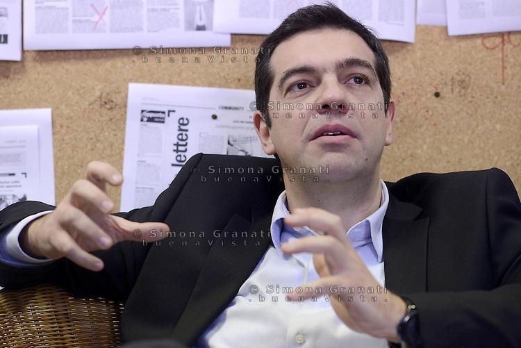 Roma, 7 Febbraio 2014<br /> Alexis Tsipras, leader del partito greco Syriza, candidato alla presidenza della Commissione europea e sostenuto da una lista civica nella redazione del quotidiano il Manifesto