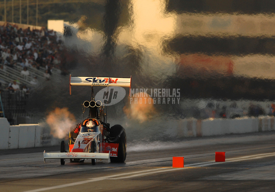Nov 3, 2007; Pomona, CA, USA; NHRA top fuel dragster driver Larry Dixon during qualifying for the Auto Club Finals at Auto Club Raceway at Pomona. Mandatory Credit: Mark J. Rebilas-US PRESSWIRE